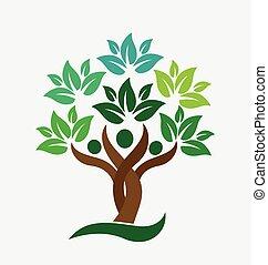 gente, logotipo, árbol, familia , leafs, verde