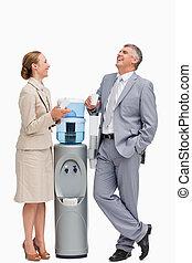 gente, luego, reír, dosificador de agua