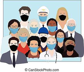 gente, máscaras, epidemia, vector, wering, durante