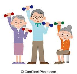 gente, maduro, liftin, grupo, más viejo
