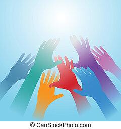 gente, manos, alcance fuera, luz brillante, espacio de copia