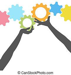 gente, manos, alzar, tecnología, engranajes