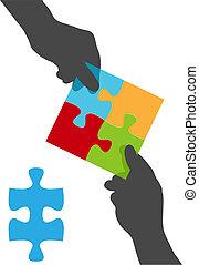 gente, manos, equipo, colaboración, rompecabezas, solución
