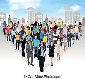 gente, masa, números, multi-ethnic
