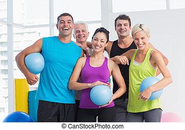 gente, medicina, alegre, pelotas, condición física, estudio