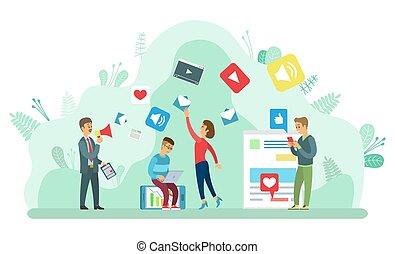 gente, medios, iconos, señales, social, postes