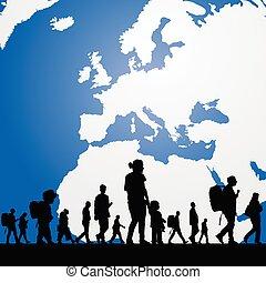gente, migración, plano de fondo, mapa, ilustración