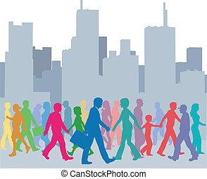 gente, multitud, caminata, ciudad, colores