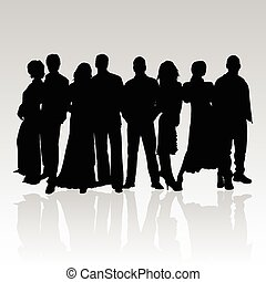 gente, negro, vector, silueta