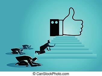 "gente, obsesionado, con, ""like"", icono"
