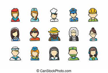 gente, ocupaciones, iconos, conjunto