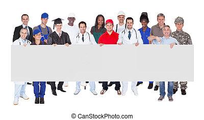 gente, ocupaciones, vario, tenencia, blanco, cartelera,...