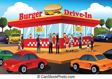 gente, ordenar, hamburguesa, en, un, autocine, hamburguesa,...
