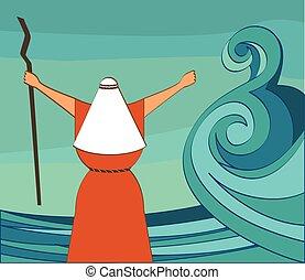 gente, ordenar, partir, ilustración, egypt., vector, dejar, mar, ir, mozes, mi, rojo, afuera
