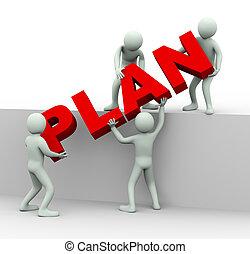 gente, palabra, trabajo junto, plan, 3d, lugar