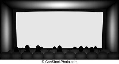 gente, pantalla, asientos, siluetas, cine, blanco
