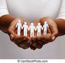 gente, papel, norteamericano, africano femenino, manos