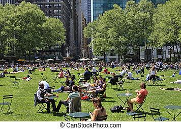 gente, parque, el gozar, día, bryant, agradable