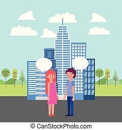 gente, parque, y, ciudad