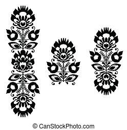 gente, patrón, -, floral, bordado