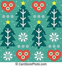 gente, patrón, turquesa, impresión, repetitivo, seamless, arte, -, corazones, navidad, estilo, vector, verde, diseño, árbol, copos de nieve, rojo, escandinavo