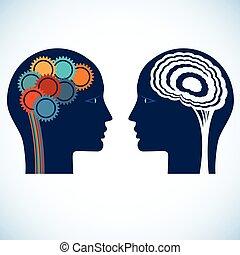 gente, pensamiento, cabezas, cerebro, dos, ruedas, engranaje, racional, creativo