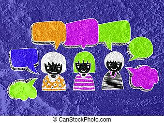 gente, pensamiento, pueblos, hablar, y, burbuja del...