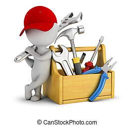 gente, -, pequeño, caja de herramientas, reparador, 3d