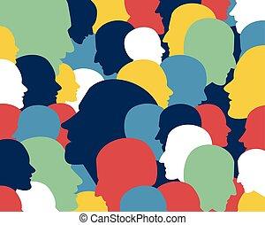 gente, perfil, heads.