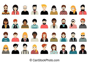gente, personas, nacionalidad, conjunto, mega, cabezas, ...
