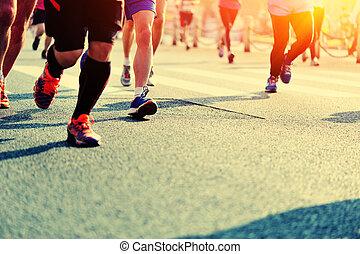 gente, pies, carrera, maratón, corriente