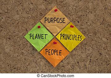 gente, planeta, propósito, principios, máxima