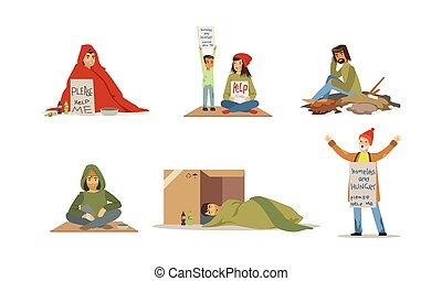 gente, pobreza, vector, caracteres, sin hogar, concepto, set.