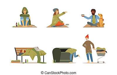 gente, pobreza, vector, caracteres, sin hogar, concepto,...
