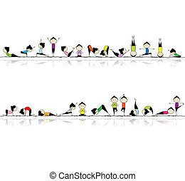 gente, practicar, yoga, seamless, plano de fondo, para, su,...
