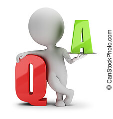 gente, -, pregunta, pequeño, respuesta, 3d