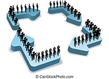gente, proceso, flechas, flujo del trabajo, reciclar, ciclo
