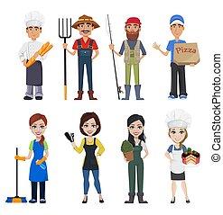 gente, profesiones, diferente