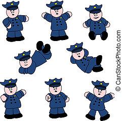 gente, profesiones, -, policía, conjunto