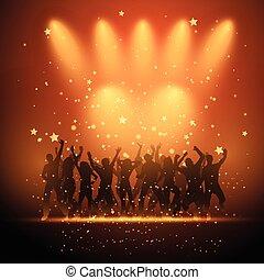 gente, proyector, bailando