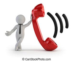gente, -, receptor del teléfono, pequeño, 3d