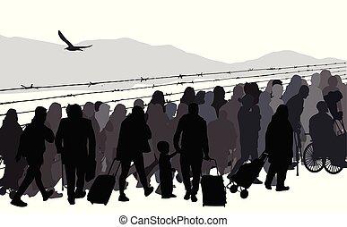 gente, refugees, siluetas, alambre, atrás, mordaz