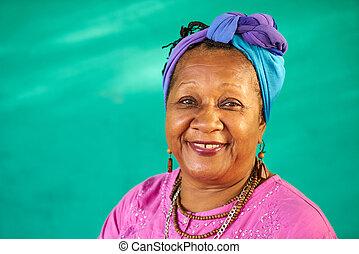gente, retrato, viejo, negro, cámara, verdadero, mujer que sonríe