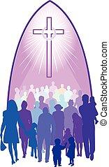 gente, reunión, debajo, cruz, en, iglesia
