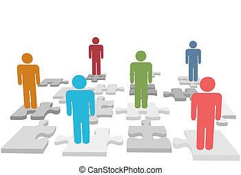 gente, rompecabezas, pedazos jigsaw, estante, recursos ...