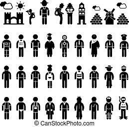 gente, símbolo, en, carrera