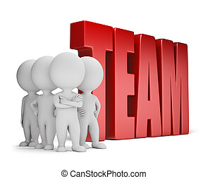 gente, seguro, -, equipo, pequeño, 3d