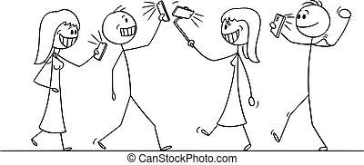 gente, selfie, multitud, caricatura, ilustración, móvil,...