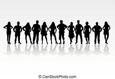 gente, silhouettes.