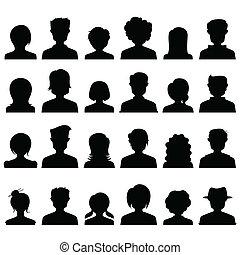 gente, silueta, icono